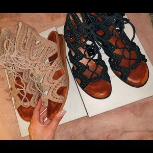 Black & Nude Gladiator Sandals